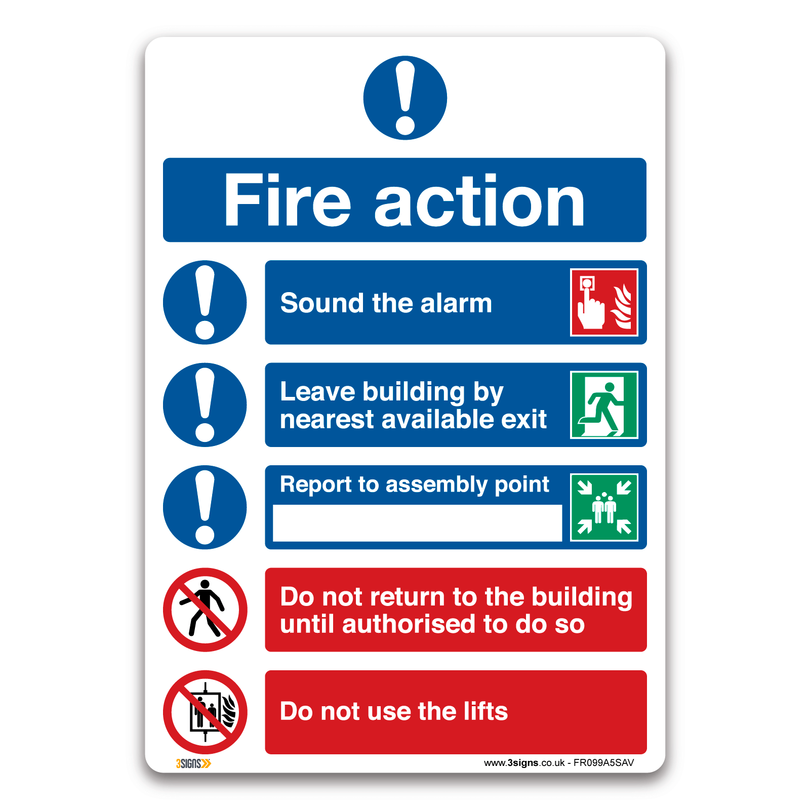 Custom fire action safety sign